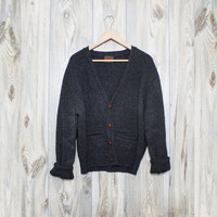 Vintage Charcoal Knit Oversized Sweater Cardigan