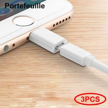 Portefeuille 3PCS Micro USB to 8pin Charger Cable Adapter Converter for iPhone 7 5 6 S 6s 8 plus 5S 5C SE X 10 iPad iPod Charge
