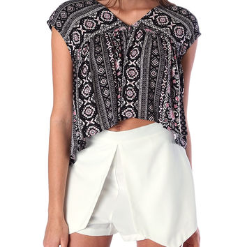 Sweet and Pleasant Crop Top - Black Print