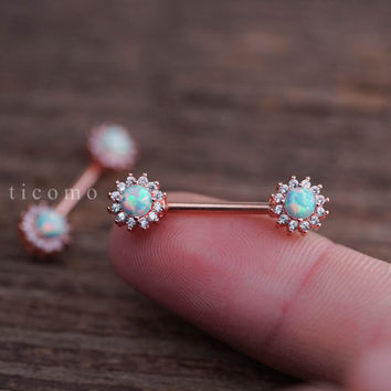 nipple ring nipple piercing nipple jewelry nipple barbell fire opal zircon flower Rose Gold #1N01