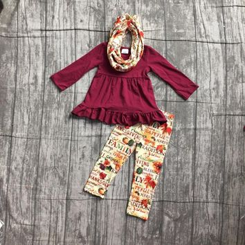 Fall/winter 3 pieces scarf baby girls kids outfits wine burgundy letter leaves pant cotton boutique children clothes kidswear