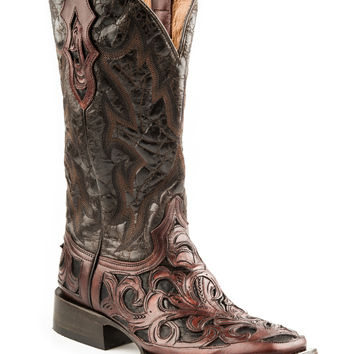 Stetson Mens Handtooling Fashion Boots 13 Oak Hand Tooled Vamp