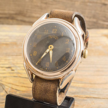 Vintage Ural mens watch with black dial, gold plated vintage russian watch, USSR CCCP