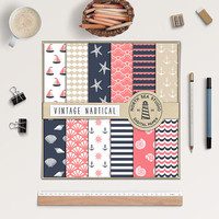 BUY5FOR8 Vintage Nautical Digital Paper Nautical Paper Sea Backgrounds Digital Scrapbooking Vintage Colors Download