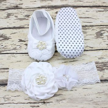 0-12 Months Newborn Baby Girl Shoes white baptism Toddler Infant Fabric Booties Flower Headband Set Pearls Lace Princess KU31