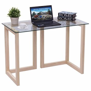 "Giantex 44"" Tempered Glass Top Console Desk Modern Living Room Sofa Accent Table Wood Entryway Glass Desk Home Furniture HW56040"