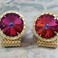 Vintage Rivoli Rhinestone Cufflinks Outstanding Color Rich Red Purple Blue Color Changing Stone Fabulous Design Suit Dress Shirt Accessories