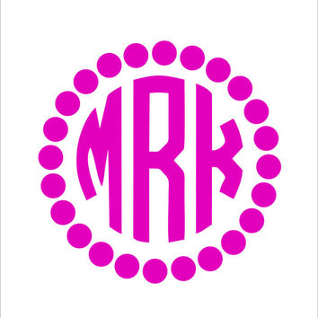Circle Car Monogram Sticker With Polka Dot Border