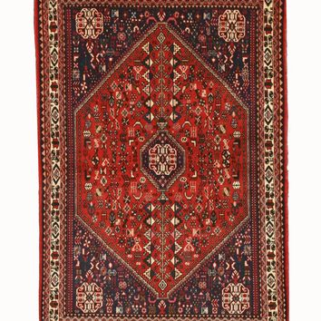 EORC Hand-knotted Wool Rust Traditional Oriental Abadeh Rug