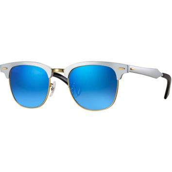 Ray Ban Aluminum Clubmaster Sunglass Silver Blue Mirrored RB 3507 137/7Q