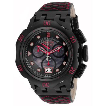 Invicta 17183 Men's Jason Taylor Hybrid Chronograph Black MOP Dial Leather Strap Dive Watch