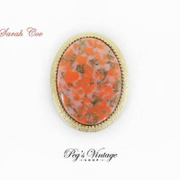 Vintage Sarah Cov Pink Coral Confetti Brooch / Pendant Jewelry