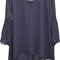 Plus Size Lace Sleeve Woven Top
