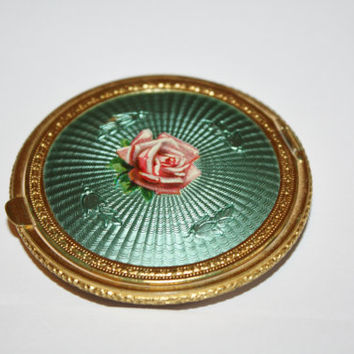 Art Deco Compact Green Guilloche Enamel Rose Powder Purse 1920s