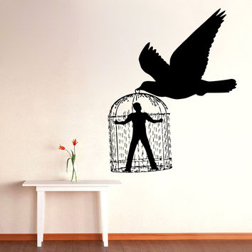 Wall Decals Vinyl Decal Sticker Art Murals Decor Man in Bird Cage Design Kj585