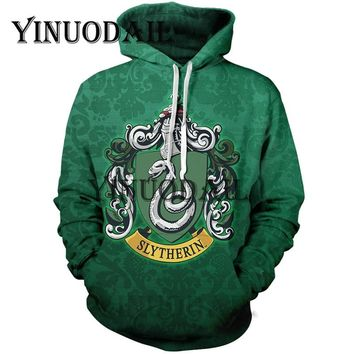 YINUODAIL Harri Potter 3D Printed Slytherin Hoodie with Pocket Movie Cosplay Costume Harry Potter Slytherin Hoodies