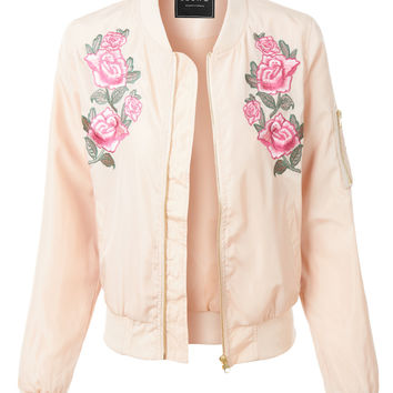 LE3NO Womens Lightweight Windbreaker Floral Embroidery Bomber Jacket (CLEARANCE)