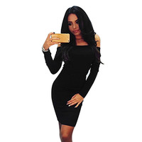 Feitong Autumn Women Knitted Sweater Dress Fashion Lady Sexy Off Shoulder Package Hip Pencil Long Maxi Dress vestidos femininos