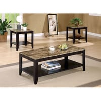 Coaster Furniture 700155 Three Piece Occasional Table Set with Shelf and Marble Look Top
