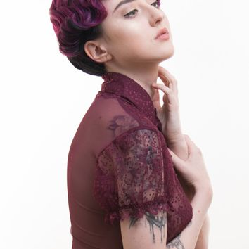 Sage - Short Black/Purple Finger Wave Full Wig