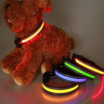 Fashion LED Luminous Dog Collar Nylon Materials Rechargeable Pet Collar Various Colors Pet Product with USB Peach Shaped Charge