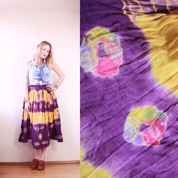 90s - Purple & Yellow - Ethnic - Tie Dye - Batik - Indian Cotton - Crinkle Broonstick - Drawstring Waist -  Long Maxi Skirt - Boho - Hippie