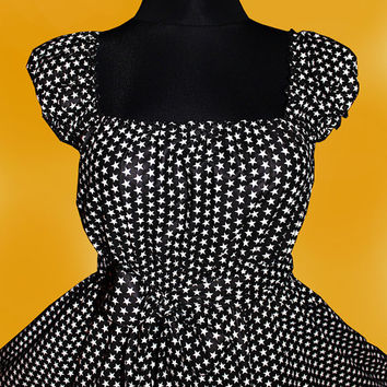 40s 50s STARS RockaBilly swinG DRESS Pin Up Plus Size 16 18 20 Black and White Star