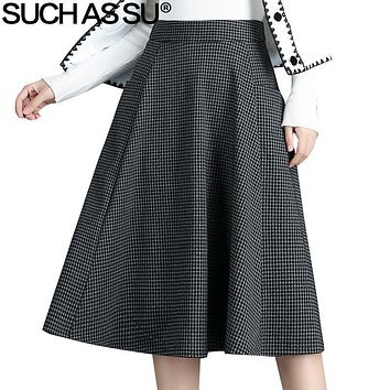 SUCH AS SU New Wool Womens Pleated Skirt 2017 Autumn Winter Gray Red Lattice Skirt S-3XL Ladies Elegant Mid Long Skirt