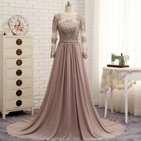 Long Sleeve Lace Chiffon Applique Prom Dresses Evening Dresses