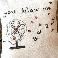 a valentine pillow door hanging vintage fan drawing by pillowhappy