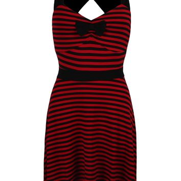 Sourpuss Striped Sweetheart Dress - Red & Black