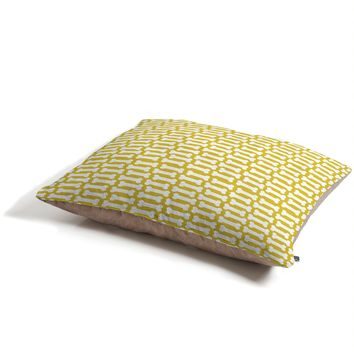 Allyson Johnson Chartreuse Dog Bones Pet Bed