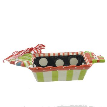 Tabletop MUD PIE ENJOY LOAF DISH Ceramic Christmas Treats Bake 99471 DOTS