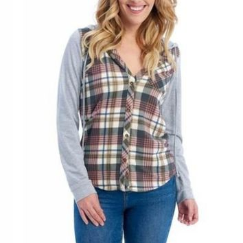 Passport Comfy Plaid Shirt with Hood in Black/Mauve