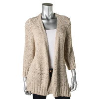 Eileen Fisher Womens Linen Blend Open Front Cardigan Sweater