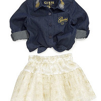 GUESS Baby Set, Baby Girls 2-Piece Tie-Front Shirt and Lace Skirt