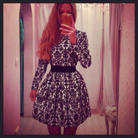 Fashion Winter Dresses Print Tunic Dress = 1901181508