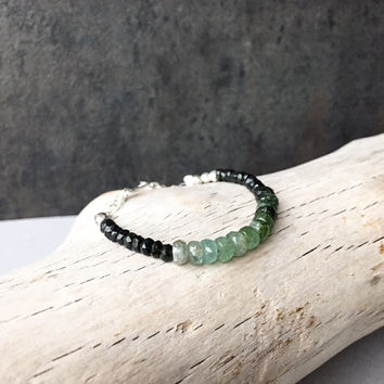 Ombré Green Tourmaline Bracelet, Gemstone Beaded Stackable, October Birthstone, Modern Boho Gypsy Fall Jewelry, Chakra Spiritual Gift Ideas