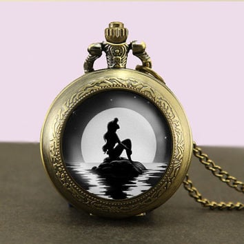 Little Mermaid Locket necklace,Little Mermaid Pocket Watch Necklace,Little Mermaid fob watch locket necklace