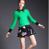 Green Cat Embroidered Collar Sleeve Shirt
