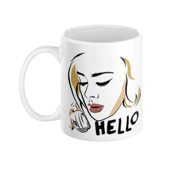 Adele Hello Illustration Typography When We Were Young 25 Ceramic 11 oz Coffee Mug Kitchen House Warming Gift