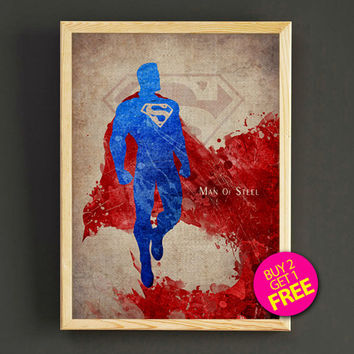 Justice League Superman Watercolor Art Print Justice League Superhero Poster House Wear Wall Decor Gift Linen Print - Buy 2 Get FREE - 40s2g