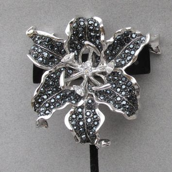 HUGE Spectacular 1990's Vintage Signed Nolan Miller Black Rhinestone Silver Tone TIGER LILY Pin