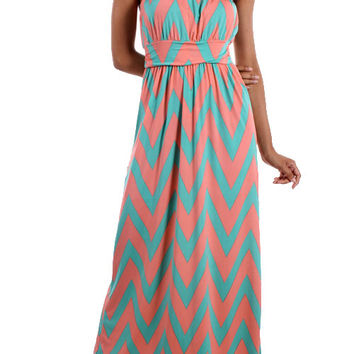 Pink and Mint Chevron Strapless Maxi Dress
