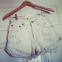 Levi high-waisted distressed white denim shorts