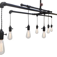 Barn Metal Industrial Custom Pipe and Cloth Cord Chandelier - 8 Light