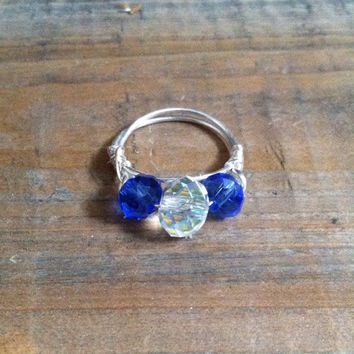 Beaded Wire Ring - Czech Glass Ring - Blue Beaded Ring - Wire Wrapped Ring, Stacking Ring. Silver Tone Ring
