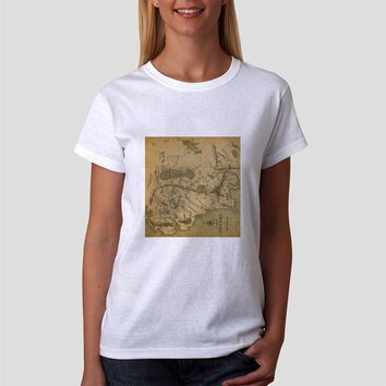 Classic Women Tshirt Map Of Middle Earth Lord Of The Rings Cool Vintage The Hobbit