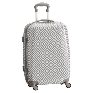 Hard-Sided Preppy Diamond Gray Carry-On Spinner