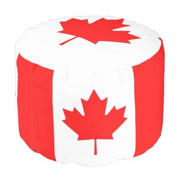 Canadian Flag of Canada Red Maple Leaf Round Pouf